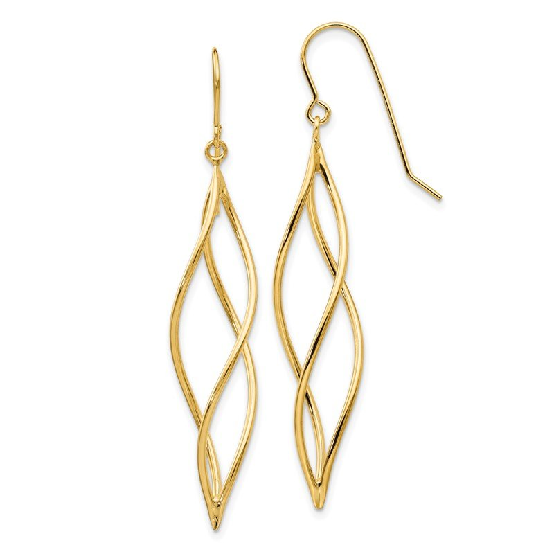 Quality Gold 14k Polished Long Twisted Dangle Earrings