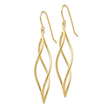 14k Polished Long Twisted Dangle Earrings