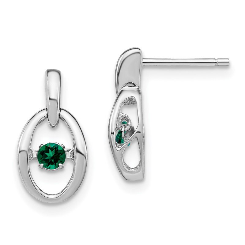 Quality Gold Sterling Silver Rhodium Created Emerald Birthstone Vibrant Earrings