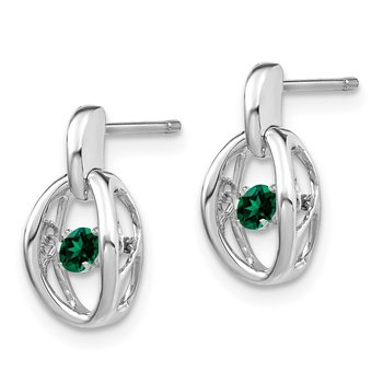 Sterling Silver Rhodium Created Emerald Birthstone Vibrant Earrings