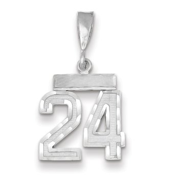 14k White Gold Small Diamond-cut Number 24 Charm