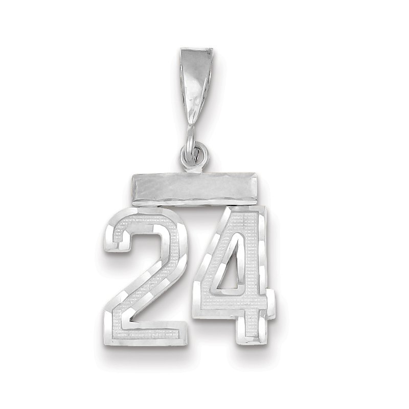 Quality Gold 14k White Gold Small Diamond-cut Number 24 Charm