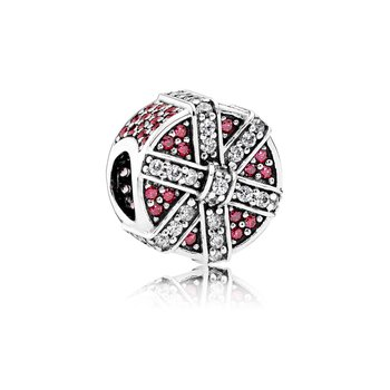 Shimmering Gift, Red & Clear CZ