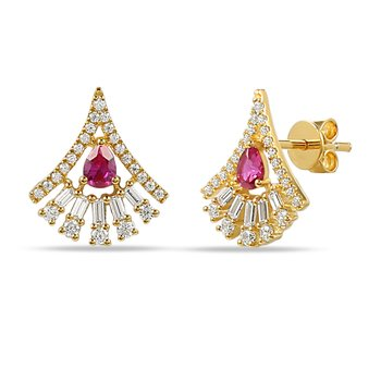 14K Fan shaped Earrings with pear shape Pink Sapphire 0.40C & round & bag Diamonds 0.51C