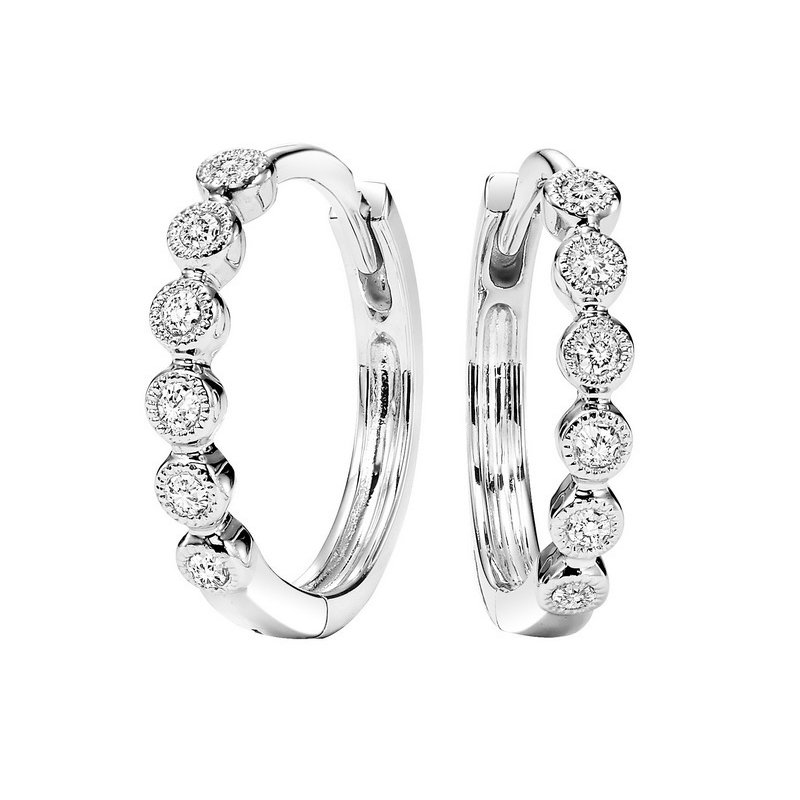 Gems One 10K White Gold Mixable Prong Diamond Earrings 1/7CT