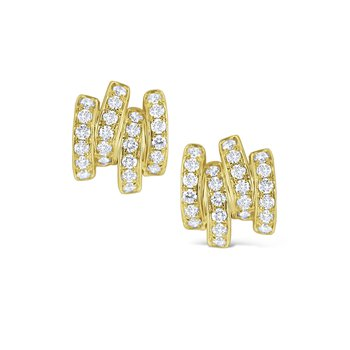 Diamond Line Stud Earrings Set in 14 Kt. Gold