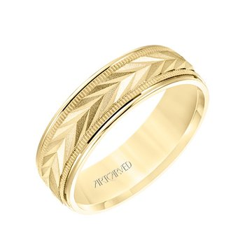 14K Yellow Gold Engraved Comfort Fit Wedding Band