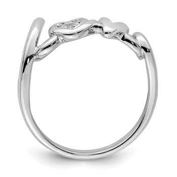 Sterling Silver Rhodium Plated Diamond Love Ring