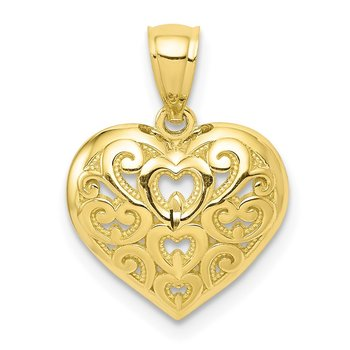 10k Diamond-Cut Heart Charm