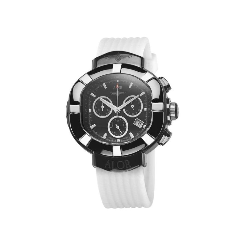 ALOR ALOR Elite Sub Stainless Steel Black PVD with Chronograph Dial, Grey Markers and White Rubber Strap Watch