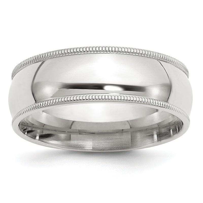 Jewel Tie 925 Sterling Silver 7mm Polished Fancy Wedding Band