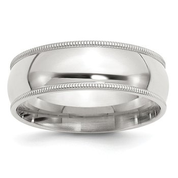 Sterling Silver 7mm Milgrain Comfort Fit Band