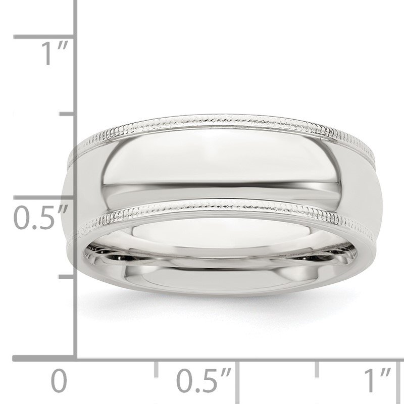 Quality Gold Sterling Silver 7mm Milgrain Comfort Fit Band