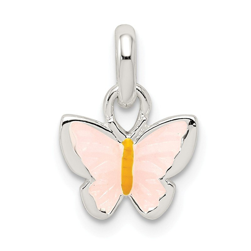 Quality Gold Sterling Silver Children's Pink/Yellow Enameled Butterfly Pendant