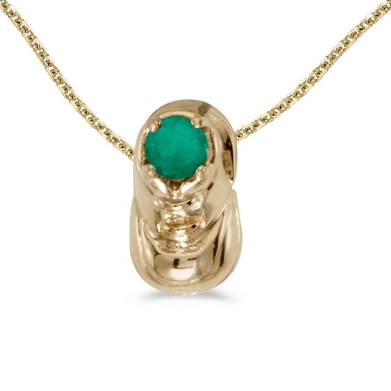 Color Merchants 14k Yellow Gold Round Emerald Baby Bootie Pendant