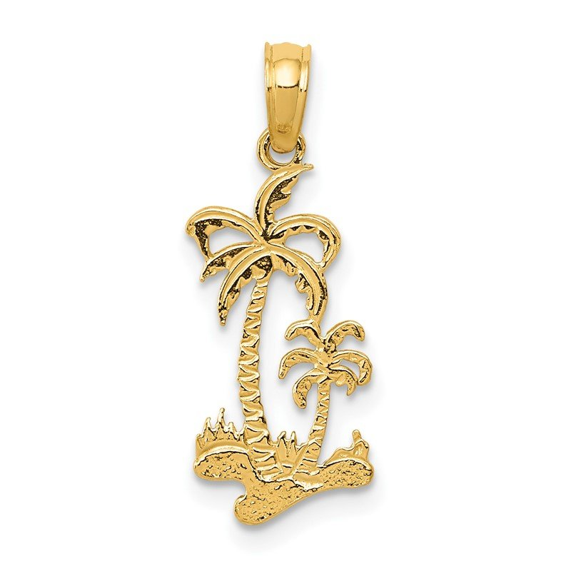 Quality Gold 14k Double Palm Trees Pendant