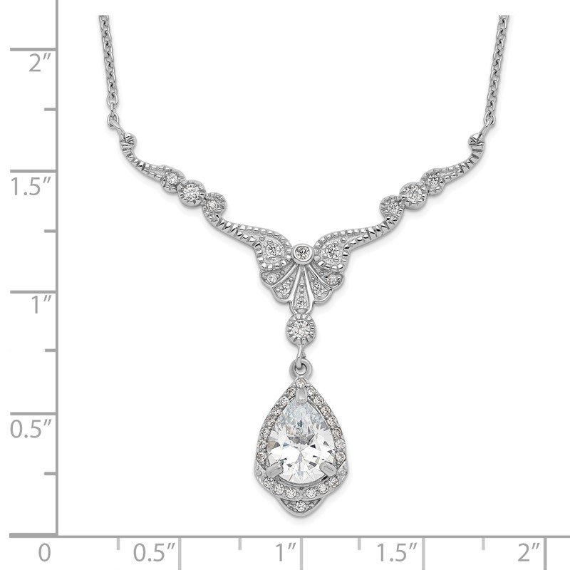 JC Sipe Essentials Cheryl M SS Rhodium Plated CZ Fancy Teardrop Dangle w/2.25 in ext Necklace