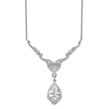 Cheryl M SS Rhodium Plated CZ Fancy Teardrop Dangle w/2.25 in ext Necklace