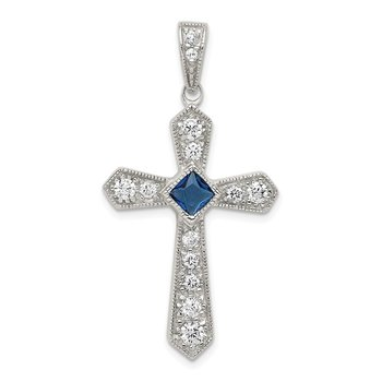 Sterling Silver Rhodium-plated Blue CZ Center & CZ Passion Cross Pendant