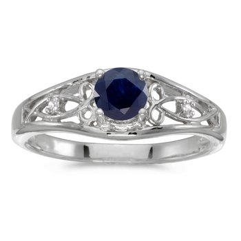 10k White Gold Round Sapphire And Diamond Ring