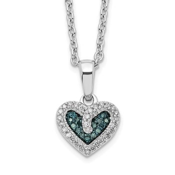 Sterling Silver Rhod Plated Blue and White Diamond Heart Pendant Necklace