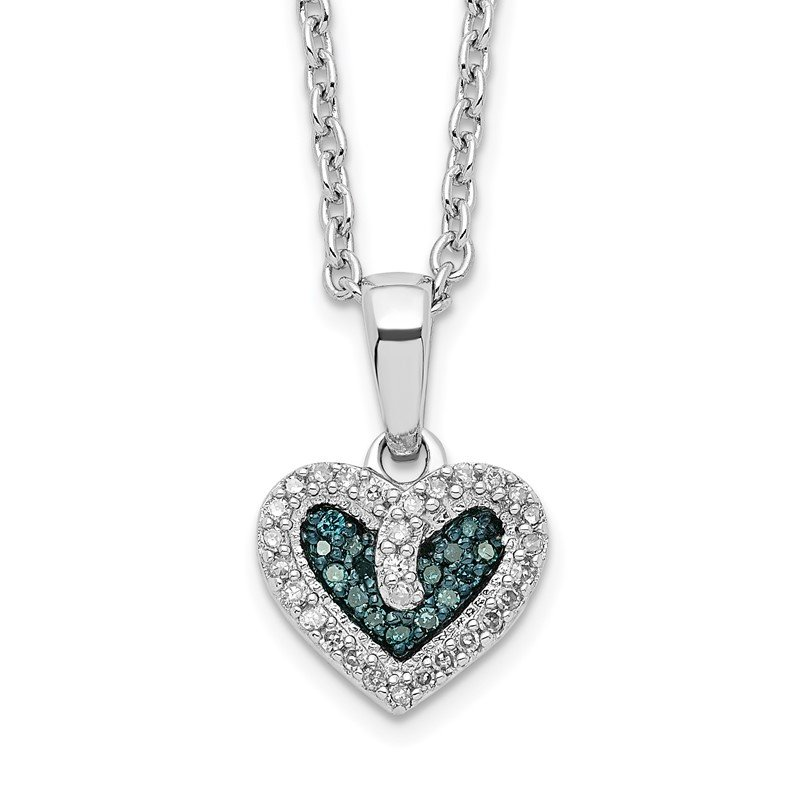 Quality Gold Sterling Silver Rhod Plated Blue and White Diamond Heart Pendant Necklace