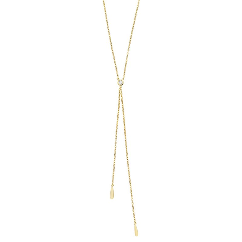 MAZZARESE Fashion 14K Gold and Diamond Lariat Necklace