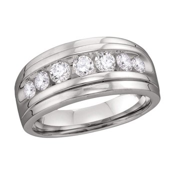 10kt White Gold Mens Round Diamond Wedding Band Ring 7/8 Cttw