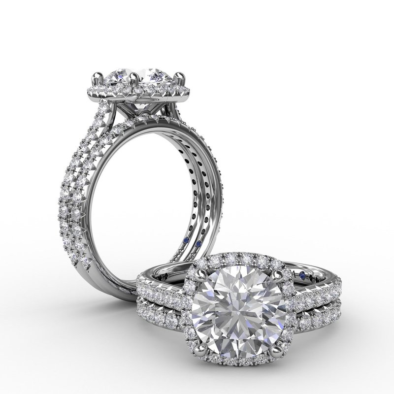 Fana Cushion-Shaped Halo Diamond Engagement Ring with Diamond Band
