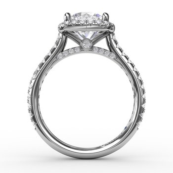 Cushion-Shaped Halo Diamond Engagement Ring with Diamond Band