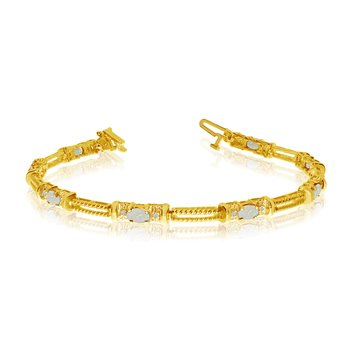 10k Yellow Gold Natural Opal And Diamond Tennis Bracelet