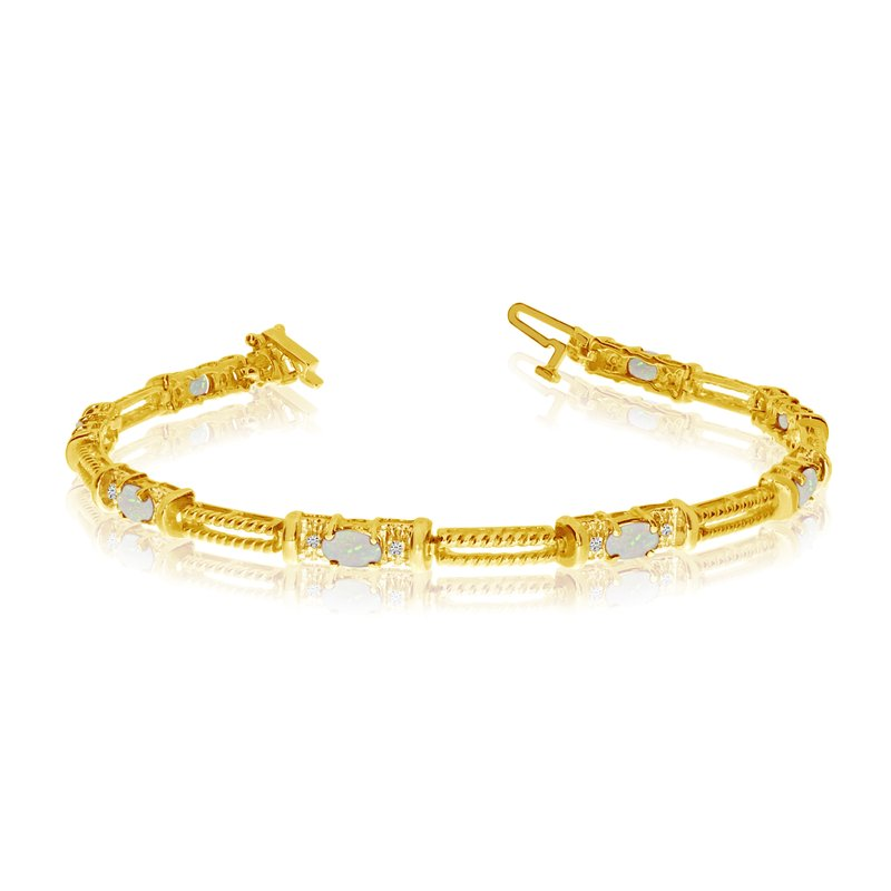 Color Merchants 10k Yellow Gold Natural Opal And Diamond Tennis Bracelet