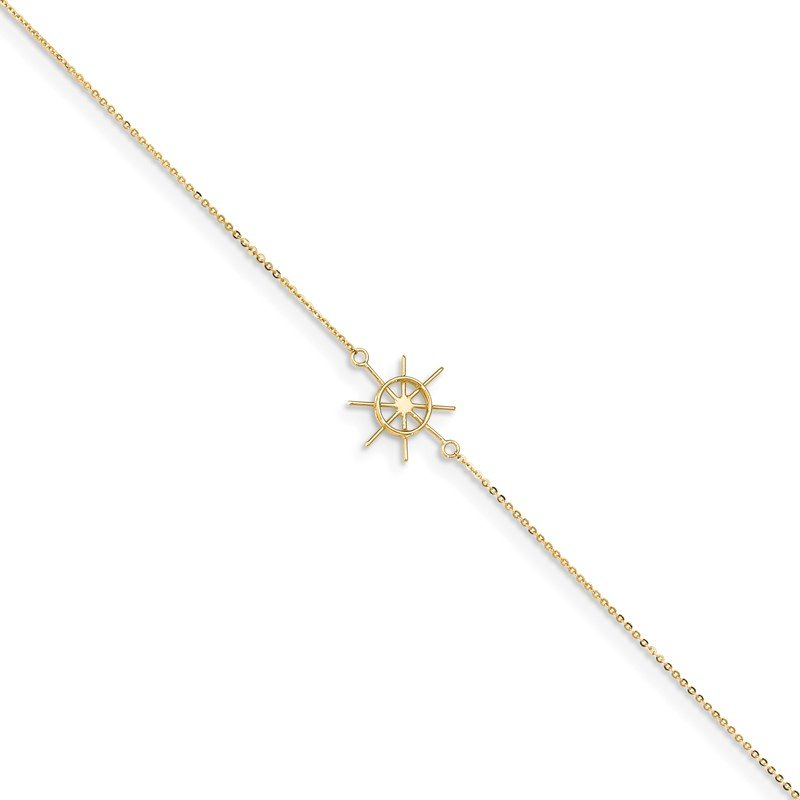 Quality Gold 14k Polished Captains Wheel 9in Plus 1in. Ext. Anklet
