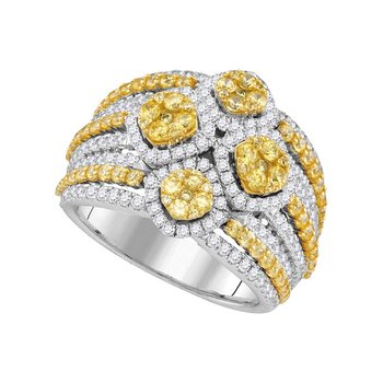 14kt White Gold Womens Round Natural Canary Yellow Diamond Fashion Ring 2-7/8 Cttw