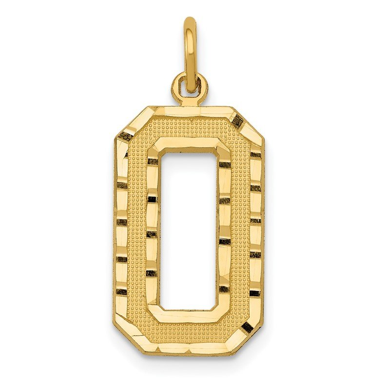 Quality Gold 14ky Casted Large Diamond Cut Number 0 Charm