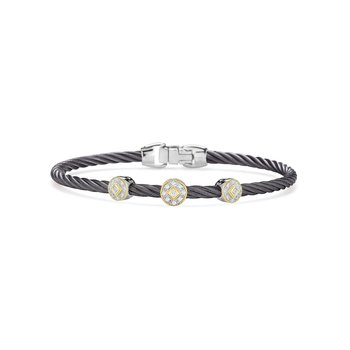 Steel Cable Essential Stackable Bracelet with Triple Round Diamond station set in 18kt Yellow Gold
