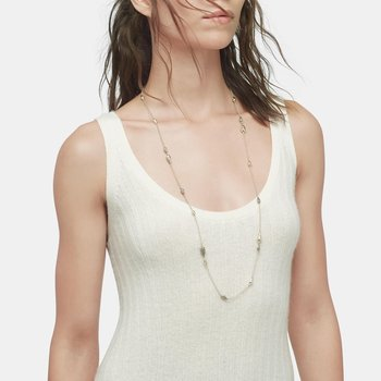 Classic Chain Long Necklace in Hammered Silver