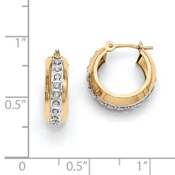 14kDiamond Fascination Round Huggy Hinged Hoop Earrings