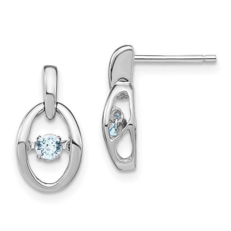 Quality Gold Sterling Silver Rhodium Aquamarine Birthstone Vibrant Earrings