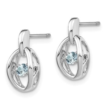 Sterling Silver Rhodium Aquamarine Birthstone Vibrant Earrings