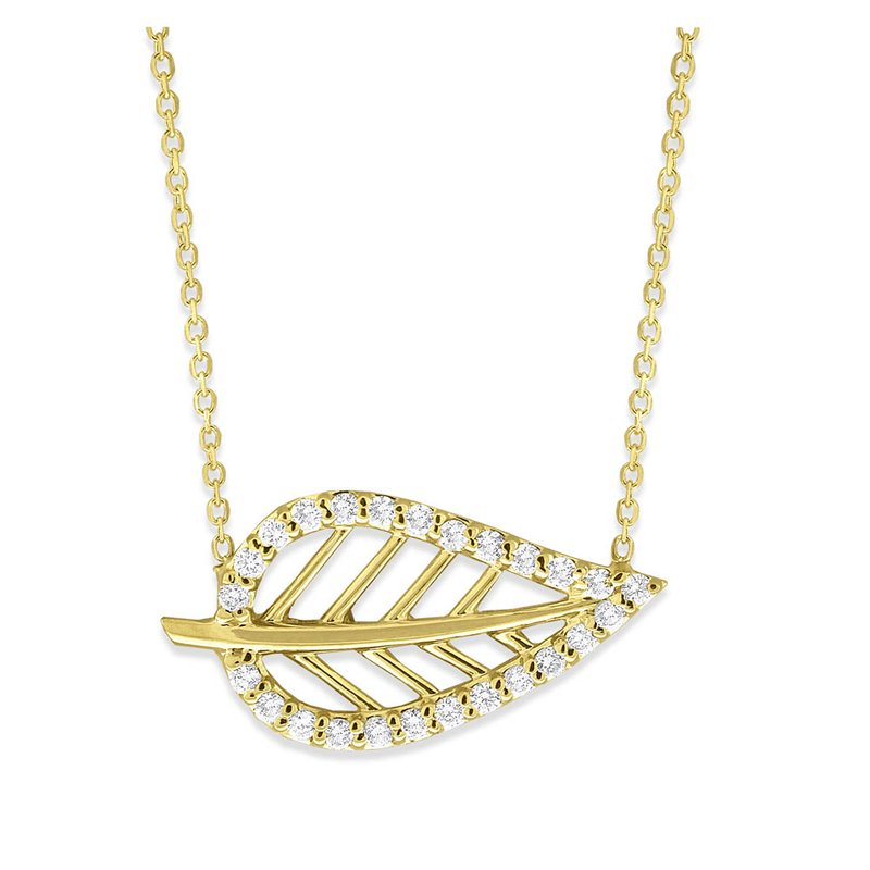 Everyday Diamonds by MAZZARESE Diamond Leaf Necklace in 14K Yellow Gold with 25 Diamonds Weighing .25 ct tw