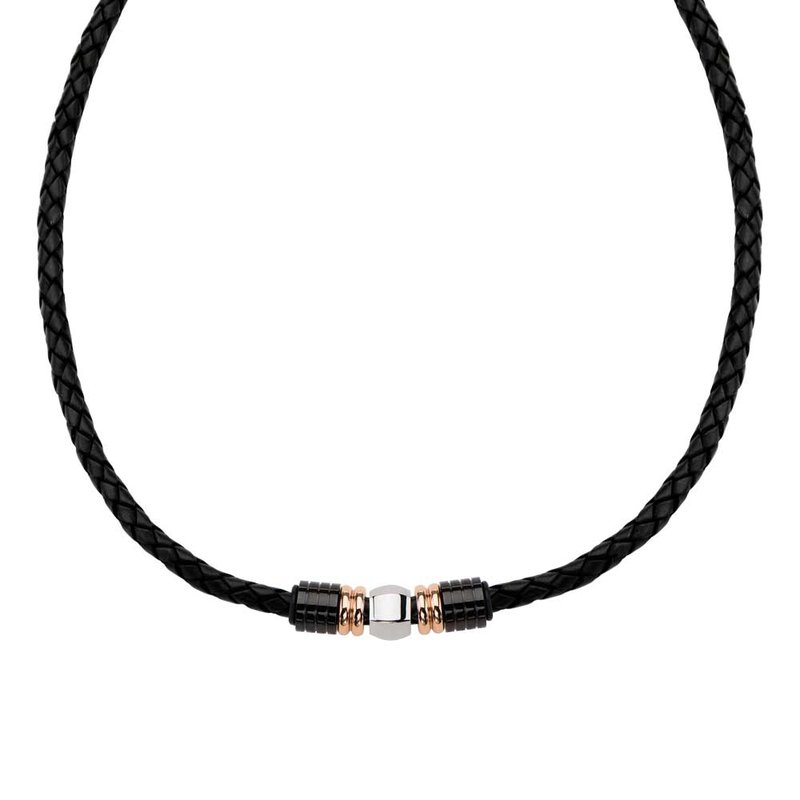 INOX Men's Jewelry Plated Rose Gold & Plated Black Bead Leather Necklace