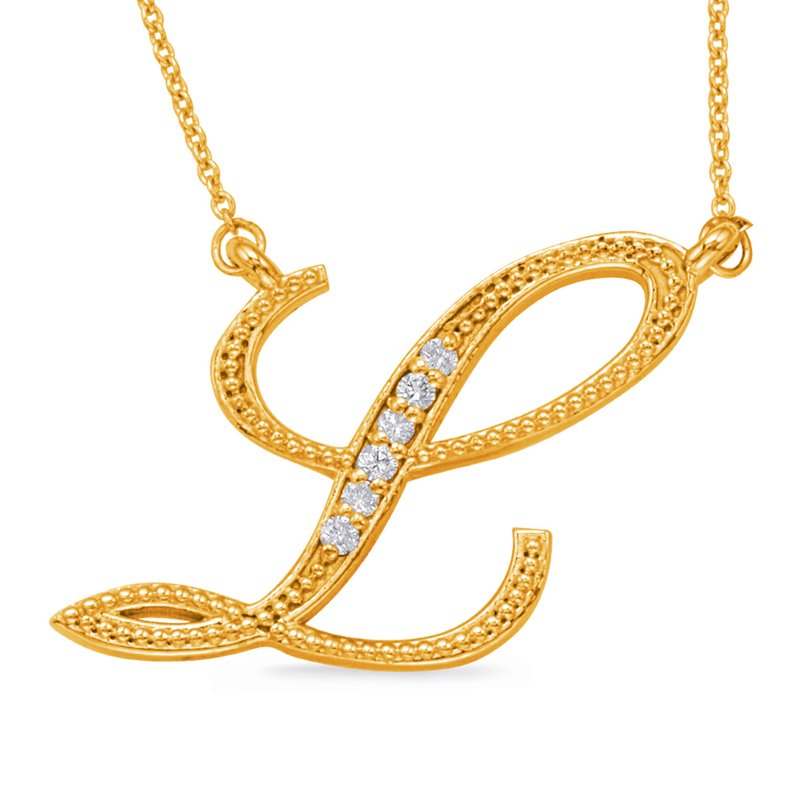 S. Kashi  & Sons Yellow Gold Diamond Initial L Pendant