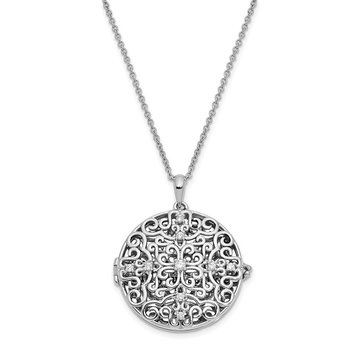 Sterling Silver CZ Antiqued Do Not Let Anyone Dull 18in. Necklace