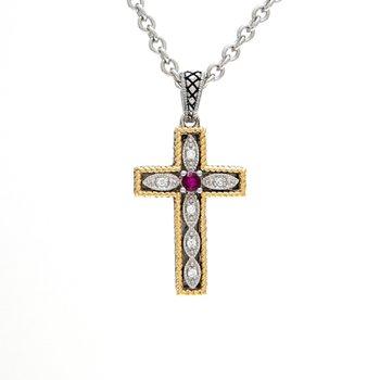 18kt and Sterling Silver Diamond & Ruby Cross Pendant with Chain