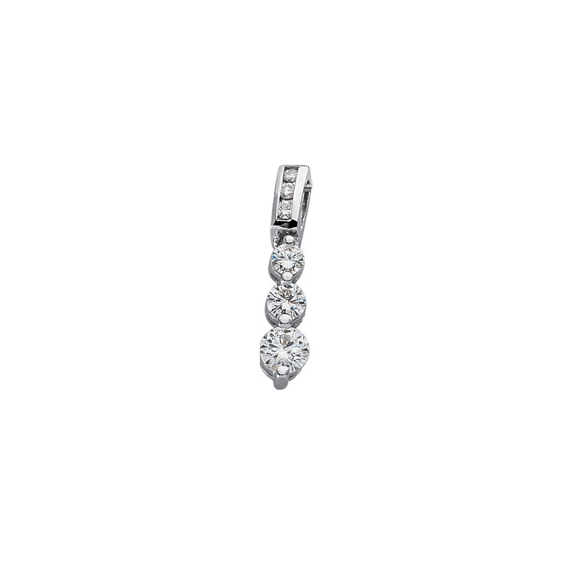 Briana White Gold Three Stone Pendant