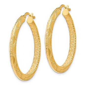 Leslies 14k Polished and Textured Hoop Earrings