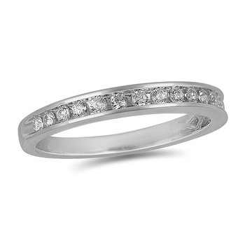 14K WG Round Diamond Channel Set Wedding Band