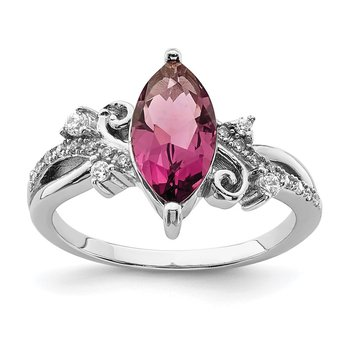 Sterling Silver Rhodium-plated Red Glass Marquise Stone & CZ Ring