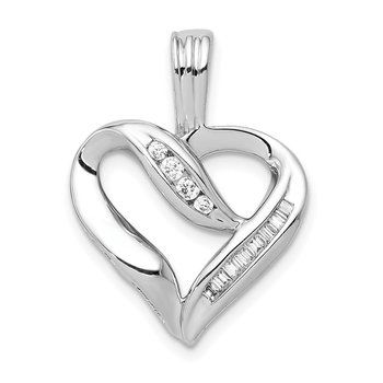 14k White Gold 1/8ct. Diamond Heart Pendant